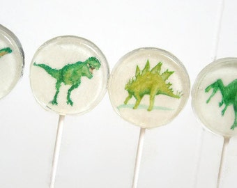 Jurassic Dinosaur Party Favor Lollipops, Jurassic Party Favors Set of 6, Edible Image Lollipops, Boy Birthday Party Favors, Dinosaur Candy