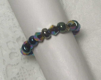 "Cynthia Lynn ""COLOR PARTY"" Multicolor Metallic Glass Crystal & Seed Bead Stretch Ring"