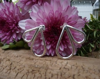 Teardrop side sterling silver earrings