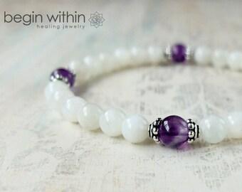 Archangel Haniel Bracelet / Angel Bracelet / Moonstone Gemstone Bracelet / Angel Wing Jewelry / For New Beginnings