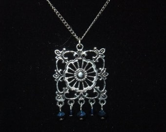 Silver & Blue Chandelier Necklace