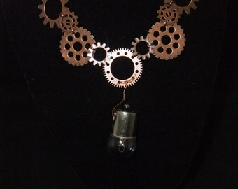 Copper Steampunk Necklace with Lightbulb