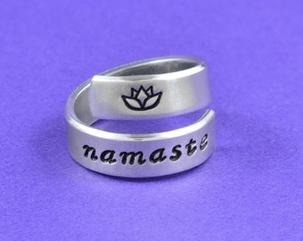 namaste - Hand Stamped Aluminum Spiral Ring, Mantra Yoga Ring, Lotus Flower Ring, Inspirational Ring