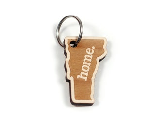 Vermont Home Key Charm by State Apparel: Laser Engraved Wood Keychain, VT
