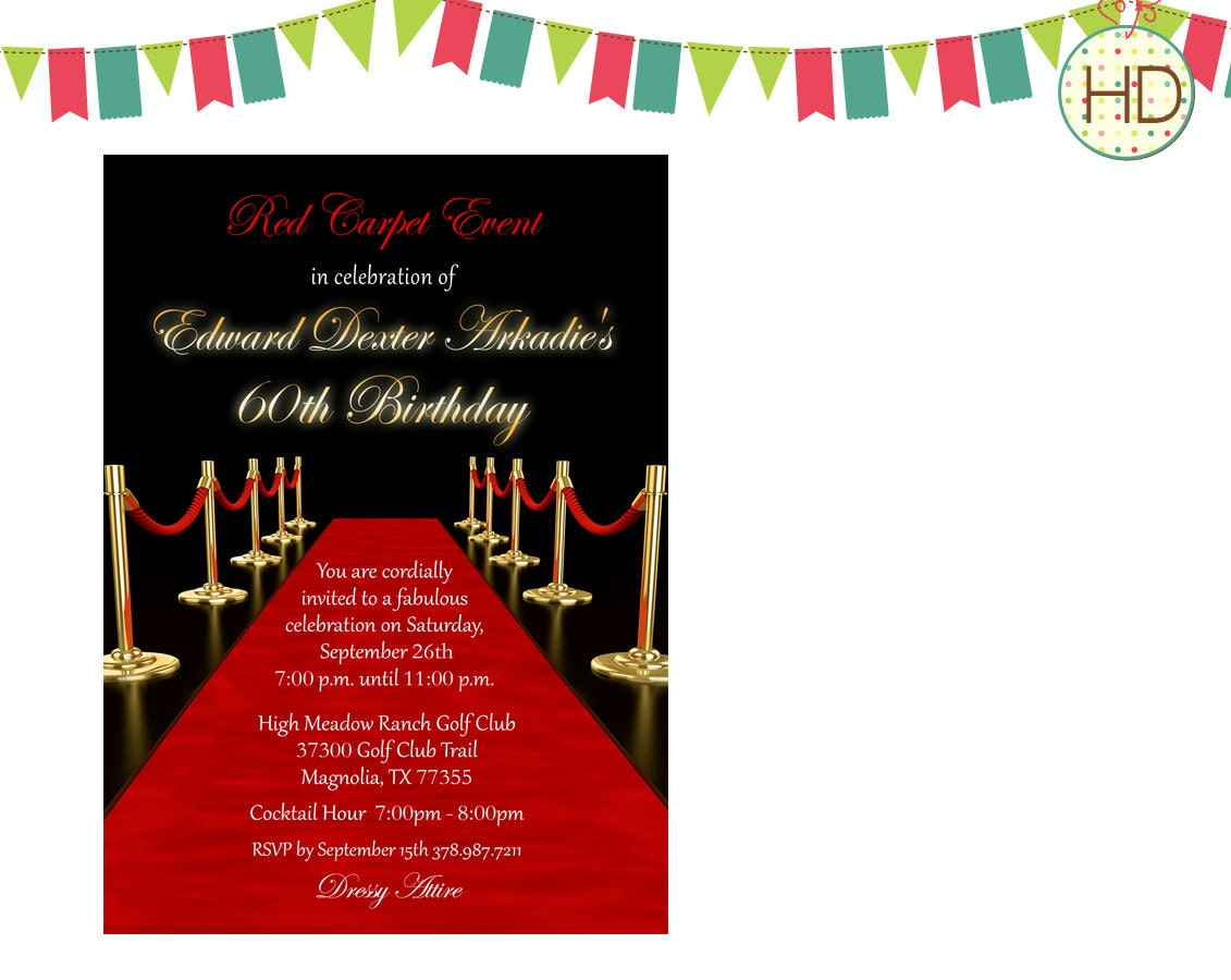 Red Carpet Invitation Hollywood Party Red Carpet by HDInvitations