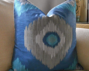 Blue gray ikatc and off gray burlap pillow cover