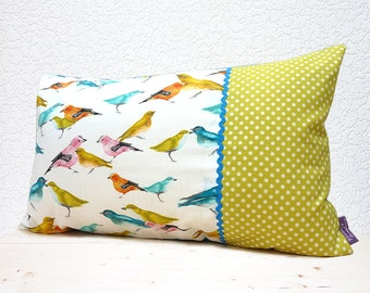 "Handmade 20""x12"" Cotton Cushion Lumbar Pillow Cover in Yellow/Pink/Turquoise Flutter Birdies & Lime Polka Dots Design Print"