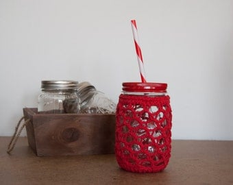 Mason Jar drink Cozy Set - Honeycomb Pattern - with Reusable Straw