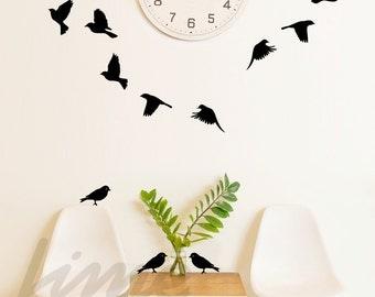 Birds wall decal / Flying birds set B0014