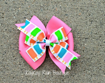 Popsicle Hair Bow - Summer Popsicle Hair Bow - 4 Inch Hair Bow - Girls Hair Bow - Toddler Hair Bow - Summer Hair Bow - Summer - Popsicle