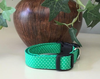 Small Dog Collar - Green w Tiny White Dots