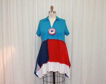 Americana top Upcycled tunic  Lagenlook clothes  Funky womens top Summer fashion shirt  blue red white tunic Eco friendly clothes XL