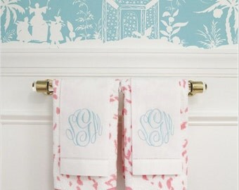 "1"" DIA Towel Bar - Lucite w/ Modern Open Brackets (Polished Brass, Polished Nickel, Satin Nickel or Chrome)"