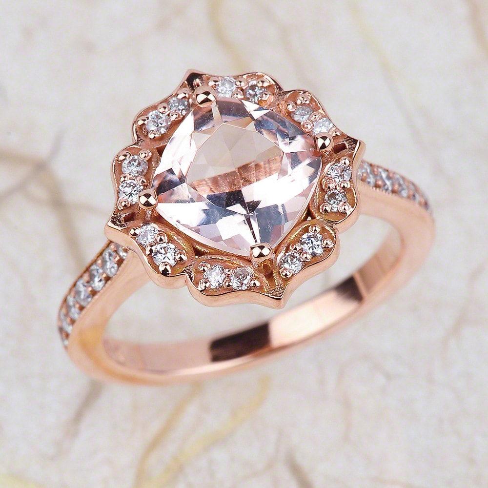 vintage floral morganite engagement ring in 14k solid