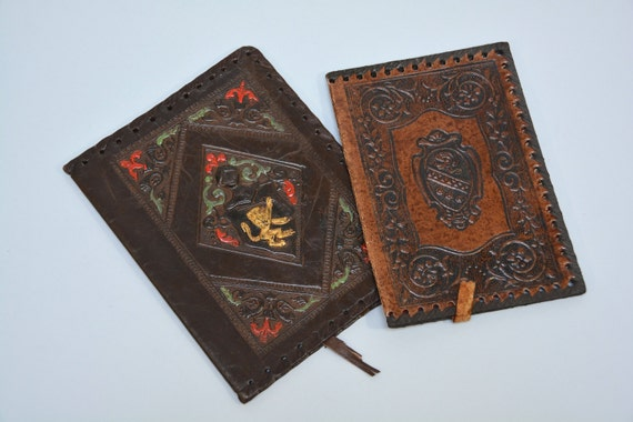tooled leather book covers vintage embossed by day17vintage
