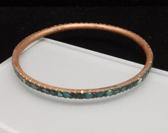 Brass Bangle Bracelet with Turquoise Chips Vintage India