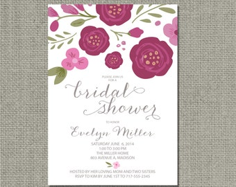 Printable Bridal Shower Invitation Card | Flower | Floral and Calligraphy Design | Customize | DIY - No. WCC-14