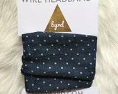 Wire Headband- Chambray with White Polka Dots