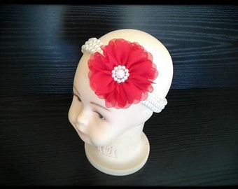 Baby Headband with Red Chiffon flower! Pearl and Beaded Headband,Girl Headband-Teal Chiffon Flower Pearl Headband, princess headband