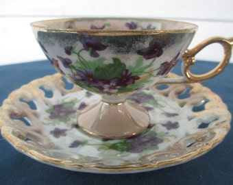 Vintage Violet Iridescent Lusterware Pedestal Tea Cup Collectible China