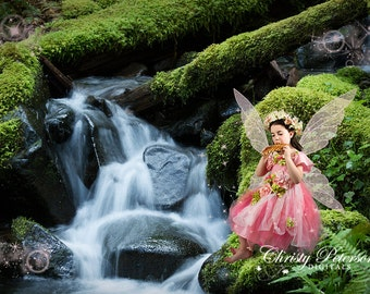 Mossy Rock by Waterfall Fantasy Digital Background for fairy composite pictures