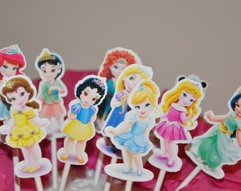 Disney Princess Toddler Baby Cupcake Toppers Cake Toppers Set of 12