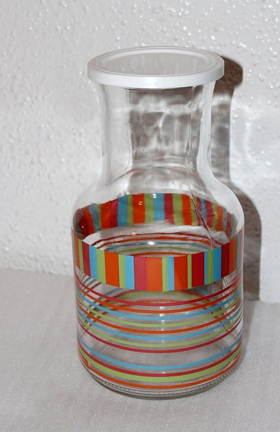 Items similar to vintage multi colored glass pitcher with plastic lid excellent condition - Plastic sangria glasses ...
