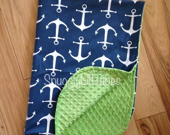 Navy anchor, lime blanket with lime green minky dot