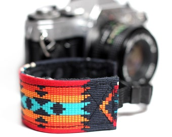 Tribal Aztec Camera Wrist Strap for DSLR - Aztec Orange with Black Minky