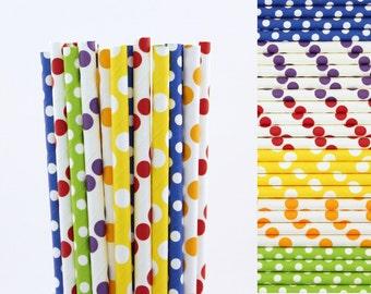 Rainbow Polka Dot Straw Mix-Red Straws-Orange Straws-Yellow Straws-Green Straws-Blue Straws-Purple Straws-Polka Dot Straws-Party Straws