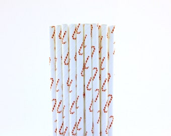 Candy Cane Paper Straws-Candy Cane Straws-Red and White Straws-Christmas Party Straws-Holiday Straws-Peppermint Party-Hot Chocolate Straws