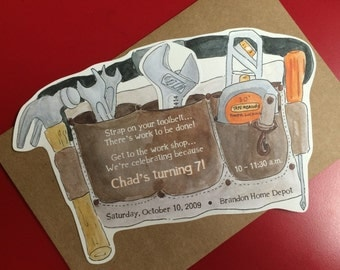 Tool Belt Party Invitation (8.5inx5.5in) (SET OF 10)