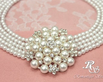 Statement bridal necklace pearl rhinestone bridal jewelry pearl choker crystal wedding necklace jewelry multiple strand - 2118