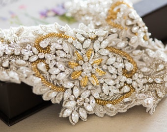 Ivory, silver and gold bridal sash -Style R45