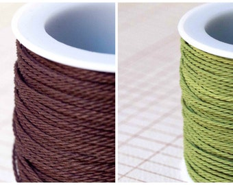 1mm Twisted Cord Fern Green / Chocolate Brown 3 Metres