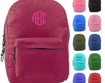 "Personalized Girls Backpack Name Monogrammed Bookbag 17"" Large Kids Tote School Bag Embroidered Monogram Pink Purple Aqua Blue Green Red"