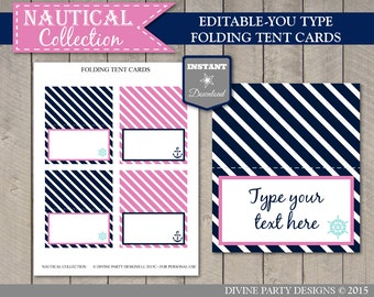 INSTANT DOWNLOAD Nautical Girl Folding Tent Cards/ Place Cards / Editable You Type / Printable / Nautical Girl Collection / Item #623