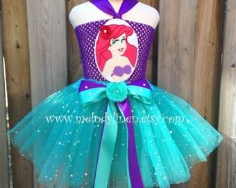 Mermaid tutu dress set mermaid headband Ariel tutu mermaid birthday dress mermaid birthday outfit Ariel costume mermaid costume