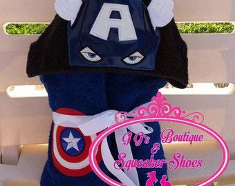 Captain Superhero hooded towel. High Quality towel