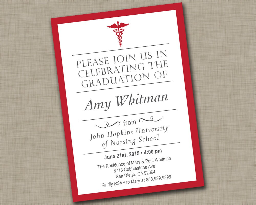 nursing graduation invitation  etsy, Quinceanera invitations