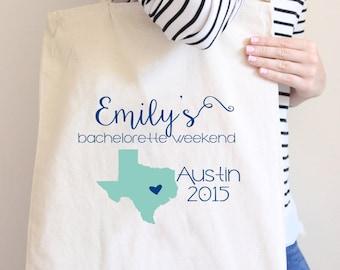 Texas Bachelorette Personalized Tote Bag// Austin Bachelorette Tote Bag