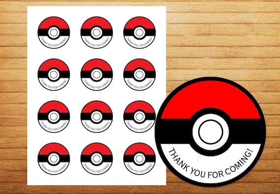 ... Pokemon Thank you Printable Sticker / Gift Bag Sticker / Thank you tag