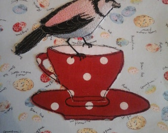 Bird and Teacup stitched picture