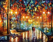 "Art Painting — Rain's Rustle 2 — PALETTE KNIFE Landscape Art Oil Painting On Canvas By Leonid Afremov - Size: 40"" x 30"" (100 cm x 75 cm)"