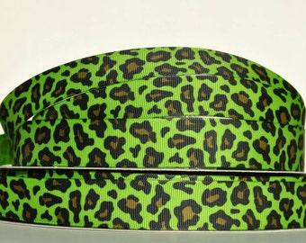 """7/8"""" grosgrain ribbon   green leopard print -  hair bow supply-"""