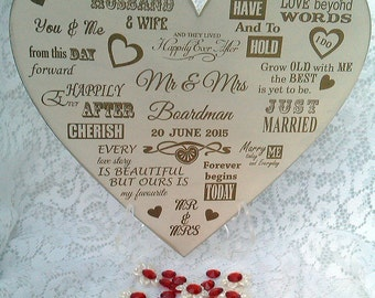 Wedding heart keepsake sentiment.