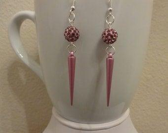 Magenta Medium Spike and Fire Ball Dangle Earrings