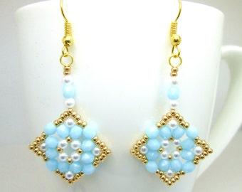 Opaque light blue and gold earrings, firepolish earrings, pearl beaded earrings, statement beadwork earrrings, wedding jewelry bridal, ER001