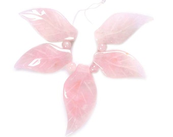 g3301 Carved rose quartz leaves pendant beads set 40mm & 53mm
