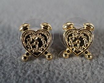 Vintage Art Deco Style Yellow Gold Tone Heart Design Stud Style Pierced Earrings Jewelry      K